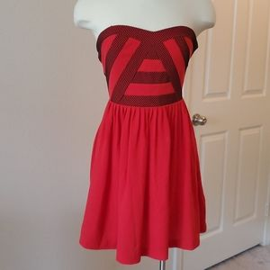 Urban Outfitters Strapless red and black dress